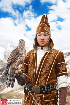 Nomadic hunter with hunting eagle, Kazakhstan