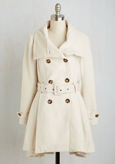 Symphony Stylings Coat by Steve Madden - White, Solid, Buttons, Pleats, Pockets, Belted, Long Sleeve, Winter, Woven, Better, Collared, Special Occasion, Military, 2, Fit & Flare, Fall, Long