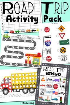 FREE printable Road Trip activity pack for traveling with kids. Featuring do-a-dot sheets, i-spy games, bingo, alphabet, drawing prompts, graphing and more!