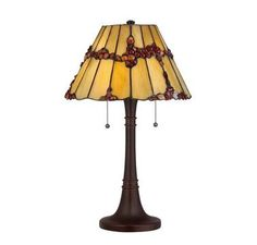 "Quoizel Tiffany 23"" 2-Light Table Lamp in Russet Finish"