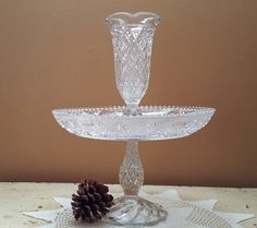 Duncan & Miller Sandwich Glass Epergne Vintage Glass Centerpiece Early American Sandwich Glass by GladStoneatHome on Etsy