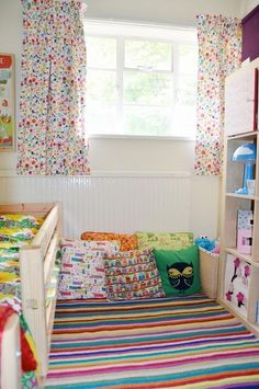 tiny room with Expedit for little girl via Apartment Therapy