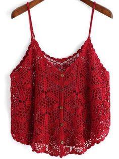 Crochet Crochet Cami Tops, Crochet Blouse, Crochet Bikini, Knit Crochet, Red Cami Tops, Tank Tops, Gilet Crochet, Crochet Woman, Crochet Fashion