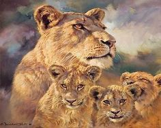 Lioness and cubs art #canvas #poster #print artwork new,  View more on the LINK: http://www.zeppy.io/product/gb/2/300728429753/