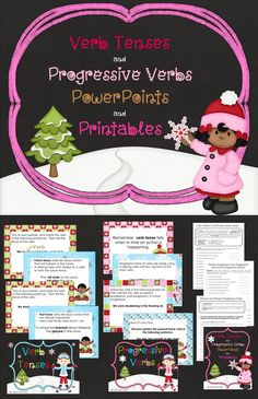 Winter themed Verb Tenses and Progressive Verbs Packet.  Aligned with 4th grade Common Core Standards $