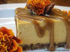 Pumpkin Spice Cheesecake with Pecan Caramel Sauce (raw, vegan, gluten-free)