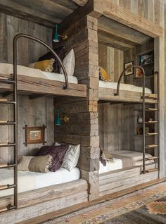 Bunk Bed Rooms, Bunk Beds Built In, Bedrooms, Cabin Homes, Log Homes, Cabin Design, House Design, Cabin Interiors, Maine House