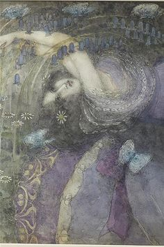 FRANCES MACDONALD MACNAIR (SCOTTISH 1874-1921) 'GIRL WITH BLUE BUTTERFLIES' signed and dated lower centre right FRANCES E MACDONALD 1898, watercolour 43.5 x 100cm (17 x 39 1/2in)