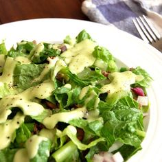Creamy Avocado Dressing- yum! For AIP, don't follow the salad recipe but the dressing is fabulous.