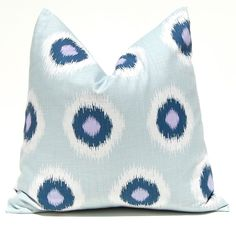 Throw Pillow Covers Decorative PIllows Cushion Covers 20 x 20 Inches Blue and Purple Ikat Dots. $38.00, via Etsy.