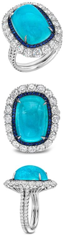Glorious Paraiba Tourmaline, Sapphire and Diamond Ring by @Tami Arnold Arnold Rylaarsdam LLC., via @1stdibs. A rare and ultra exclusive 12.34ct Brazilian Paraiba Tourmaline, cushion cabochon, showcased in a 2.77ct diamond and 0.24ct Sapphire ring. Master-crafted in platinum.