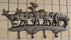 93.00$  Buy here - http://ali4vq.worldwells.pw/go.php?t=1889189501 - Cast Iron Deer Hooks Antique Metal Hat Coat Clothes Rack Hanger Rural Hanging Wall Mounted Home Decorations EMS Free Shipping 93.00$