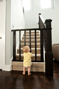 another homemade baby gate or dog gate Baby Gate For Stairs, Diy Baby Gate, Stair Gate, Staircase Gate, Safety Gates For Stairs, Staircases, Best Baby Gates, Kids Gate, Do It Yourself Baby