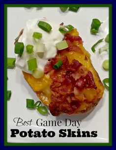 Yummy recipe for Potato Skins - perfect appetizer for a football game day snack!