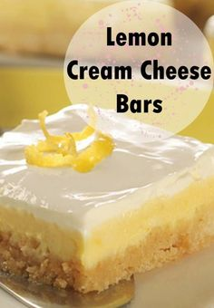 Lemon Cream Cheese Bars Lemon Cream Cheese Bars are one of my many variations of Gooey Butter Cake, and they're super easy because you start with a cake mix. When I served Lemon Cream Cheese Bars at Lemon Dessert Recipes, Cake Mix Recipes, Köstliche Desserts, Lemon Recipes, Cookie Recipes, Easy Lemon Desserts, Easy Summer Desserts, Plated Desserts, Lemon Cream Cheese Bars