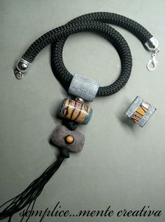 Polymer clay necklace and ring.