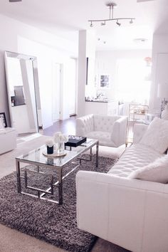 Blondie in the City 4 Reasons Why Your Home Needs A Leaner Mirror Home Decor, black and white home decor, black and white living room, white living room White Interior Design, Interior Design Living Room, Living Room Designs, Black And White Living Room, White Rooms, Rooms Home Decor, Living Room Decor, White Home Decor, Deco Design