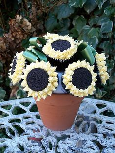 Sunflower cupcakes with Oreo middles!