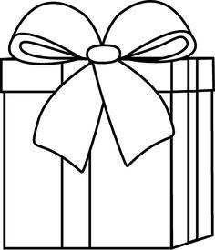 Black and White Christmas Gift Clip Art - Black and White Christmas Gift Image