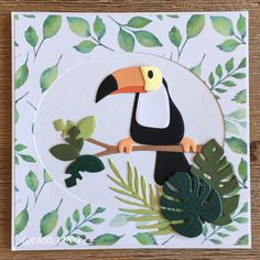 Marianne Design - Eline's toucan COL1457 Boy Cards, Kids Cards, Toucan Craft, Rainforest Crafts, Marianne Design Cards, Heartfelt Creations Cards, Bamboo Art, Collectible Cards, Animal Cards