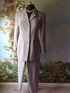 Valerie Stevens Gray Long Sleeve Pant Suit Size 8P #ValerieStevens #PantSuit