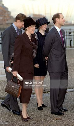 Prince Edward, Sophie Rhys-jones, Zara Phillips And Prince William Arriving At A Lunch At The Royal Naval College, Greenwich For Members Of Royal Families And Guests Attending The Golden Wedding Anniversary Celebrations