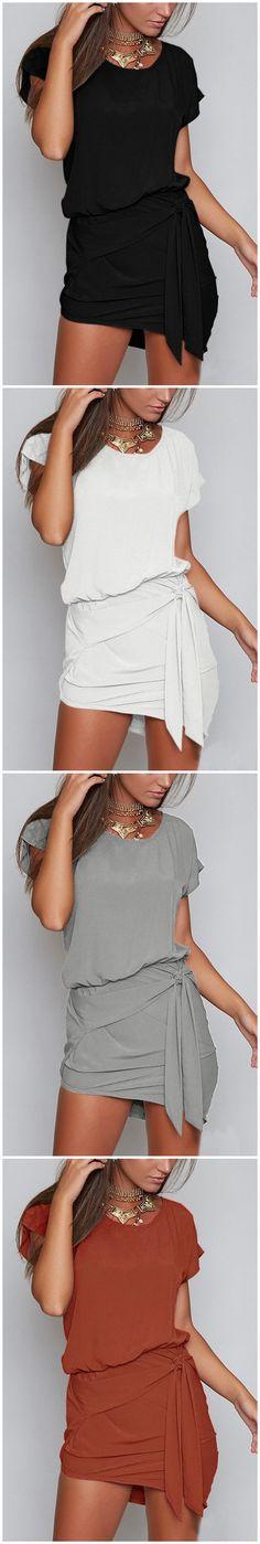 Round Neck Self-tie Design Mini Dres