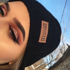 """when it's five degrees out but you have to get that natural lighting •brows: @anastasiabeverlyhills @norvina dipbrow in medium brown #anastasiabrows #abhbrows •eyes: @norvina @anastasiabeverlyhills modern renaissance palette using love letter, red ochre, and cyprus umber; @glitzbycoco custom loose glitter; @newyorkcolor liquid liner; lashes are """"mesmerizing"""" from fright night collection (halloween lashes, you can find dupes on amazon) #modernrenaissance #abhholidayslay •skin: @mariobadescu…"""