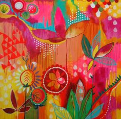 "Jessica Swift.  Garden Aglow, 36""x36"", Acrylic on wood panel"