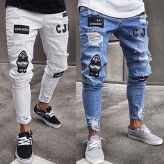 New Men's Fashion Vintage Ripped Jeans Slim Denim Pant Destroyed Frayed Hip Hop Cool Streetwear skinny biker jeans men Clothes - shoppeyshop Biker Jeans Men, Skinny Biker Jeans, Ripped Jeans Men, Denim Jeans Men, Blue Jeans, Jeans Pants, Plaid Jeans, Moto Jeans, Hip Hop Jeans