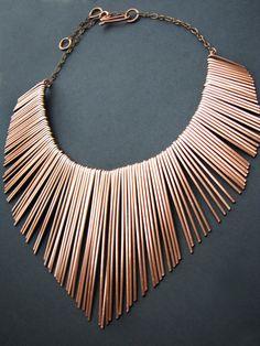 Copper Fringe Necklace Athena Copper Collar por JamieSpinello