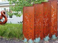 lasergeschnittene cortenstahl platten mit baum-motiv | haus, Hause und Garten