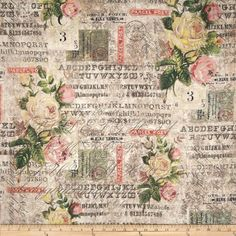 Tim Holtz Electric Elements Wall Flower Rose Parcel Multi Fabric