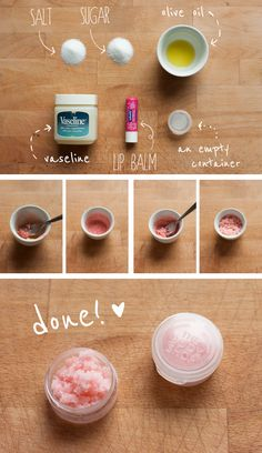 DIY lip scrub. My lips have never been this chapped as this year. I tried it once and so far so good! It got all the dead skin off. (I will omit the salt next time...didn't like the taste)