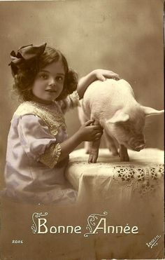 "Adorable Antique French Photo/Postcard!  ""Happy New Year"""