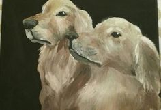 Golden retrievers--acrylics on canvas