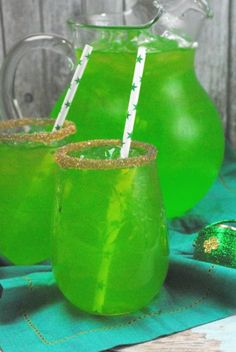 Fun Green Punch for kids. Perfect for St. Patrick's Day, or a summer drink while the kids play.