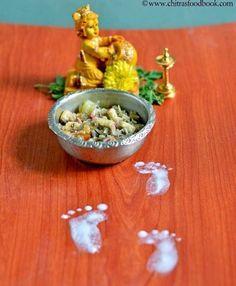 Easy aval panchamirtham recipe / Poha panchamrit for Krishna jayanthi. Krishna Leela, Jai Shree Krishna, Krishna Love, Krishna Radha, Lord Krishna Images, Krishna Photos, Festival Decorations, Flower Decorations, Sri Krishna Janmashtami