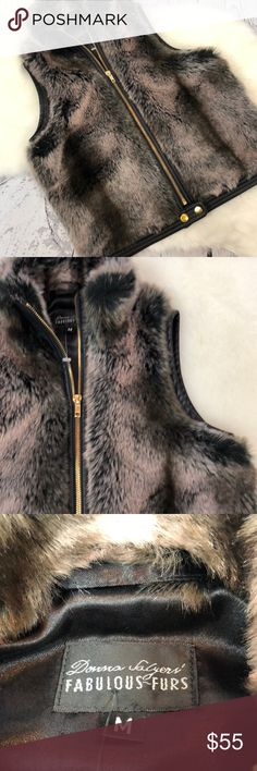 "•Donna Salyers• Fabulous Furs Faux Chinchilla Vest Gorgeous. Faux. Fur. Cropped. Vest.  Donna Salyers' Fabulous Furs ... New without tags. Cropped Chinchilla Fur with a gorgeous almost rose gold hue. This is BEAUTIFUL!!! SizeMedium but Furs my Size 2/4 mannequin nicely. Would be a gorgeous layer piece!! You'll LOVE this beauty!!! $129 new!! Fully lined. From a smoke free home!  Approximate measurements:  Armpit to armpit: 16"" Armpit to bottom: 10.5""  Shoulder to bottom: 18"" Across bottom…"