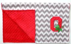 Ohio State Buckeyes Gray and Scarlet Chevron Minky Dot Blanket. $36.00, via Etsy.