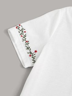 Embroidery Neck And Cuff Top – Agodeal Diy Embroidery Shirt, Basic Embroidery Stitches, Embroidery Flowers Pattern, Hand Embroidery Patterns, Diy Embroidery On Clothes, Types Of Embroidery, Embroidery Fashion, Crochet Stitches, Quilt Patterns
