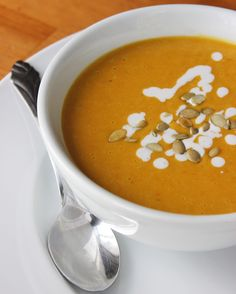 Healthy Pumpkin Soup Recipe - non dairy coconut pumpkin bisque: olive oil, onion, garlic, pumpkin, sow sodium vegetable broth, sugar, allspice, crushed red pepper, unsweetened coconut milk, salt and pepper.
