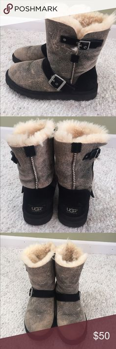 Ugg boots Size 6, grey and black with buckle on the side, perfect condition UGG Shoes Winter & Rain Boots