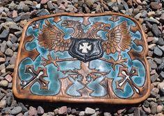 EDDIE BRAT LEATHER gothic  dual headed eagle  bespoke designed crafted  Art | eBay