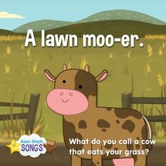 What do you call a cow that eats your grass? A lawn moo-er. Cute Jokes, Funny Jokes For Kids, Silly Jokes, Funny Puns, Dad Jokes, Hilarious, Kid Friendly Jokes, Work Jokes, Knock Knock Jokes