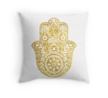 White Gold Hamsa Hand Throw Pillow