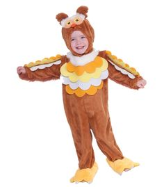 Toddler Owl Costume   Toddler costume includes removable headpiece with Velcro closure at neck and jumpsuit with attached shoe covers. Jumpsuit has Velcro closures at the back of the neck, the tail attaches with Velcro and is removable.