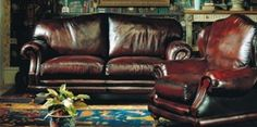 Traditional leather sofas and chairs for billiard / game room