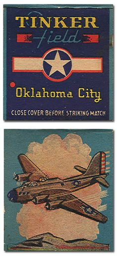 B-17 Flying Fortress at Tinker Field, Oklahoma City, OK ~ front and back panels of a WW II match cover.