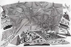 Notturno estivo - china su cartoncino poroso - disegno 24x16 rid3